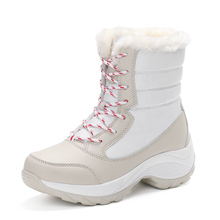Winter Women Snow Boots High Tops Add Wool Warm Fashion Casual Leather Boots %100 Good Quality Ladies Shoes(China)