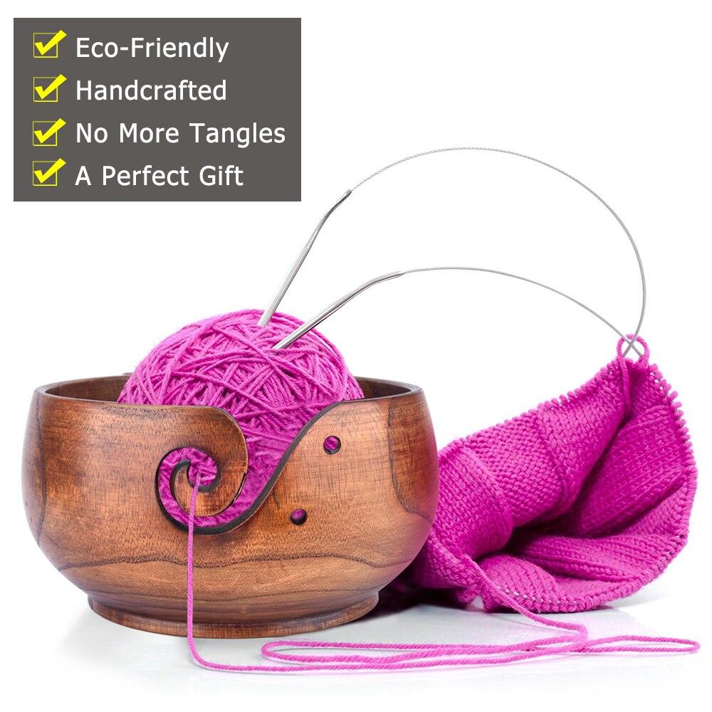 Cuenco de hilo cuenco de almacenamiento con tapa de hilo soporte de hilo port/átil para mam/ás y abuelas cuenco de hilo de madera para ganchillo