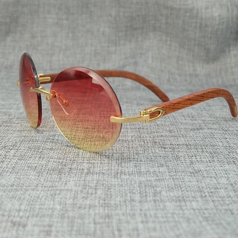 Big Round Wood Color Mix Fashion Pink Sunglasses Lady Eyewear Luxury Sun Glass Brand Designer Carter Sunglass (3)
