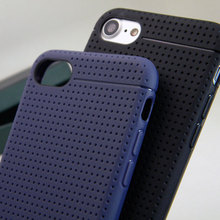 Net hole style case For iphone 7 Plus soft TPU silicone luxury leather back cover black and dark blue colors  free shipping