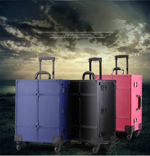 Three Colors Large Capacity Beauty Bag Trolley Makeup Case With Light Professional Cosmetic Box With wheels  40x22x50cm