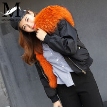 Real Fox Fur Lined Bomber Jacket New Arrival Fashion Big Real Raccoon Fur Collar Parka Short Style Fluffy Luxurious Fur Coat