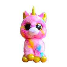 Ty Beanie Boos Original Big Eyes Plush Toy Doll 10 - 15cm Pink Unicorn TY Baby For Kids Brithday Gifts
