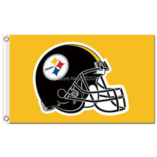 Pittsburgh Steelers Flag Helmet World Series Football Team 3ft X 5ft Yellow Background Pittsburgh Steelers Helmet Banner(China)