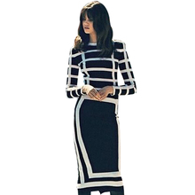 Women Autumn Elegant Slim Pencil Dresses Office Ladies Business O-neck Long Sleeve Midi Dress White and Black Striped Clothes