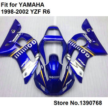 Motorcycle fairing kit for Yamaha YZF R6 98 99 00 01 02 blue white fairings set YZF R6 1998 1999 2000 2001 2002 FB-77