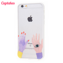 Cuptakes Luxury Cute White Magic Hands Soft Silicone Case for iPhone 6 Cover Rubber SE 5S 6S 7 Plus Phone Cases Coque film i6 i5
