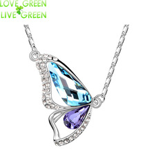 2017 new design crystal White gold color Butterfly Wing pendant Necklace Women Fashion Jewelry birthday gift 84373