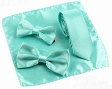 Sell Classic Lake BLue Bow tie Necktie Handkerchief For Mens and Kids Family Clothing Accessories for Party Banquet(China)