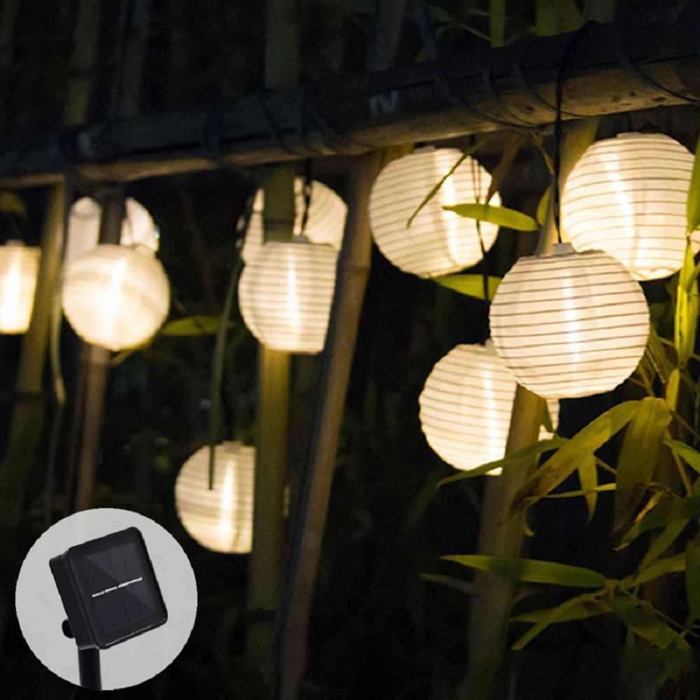 Solar Light LED Lantern Garland Wedding Decor String Lights Outdoor Fairy Garden