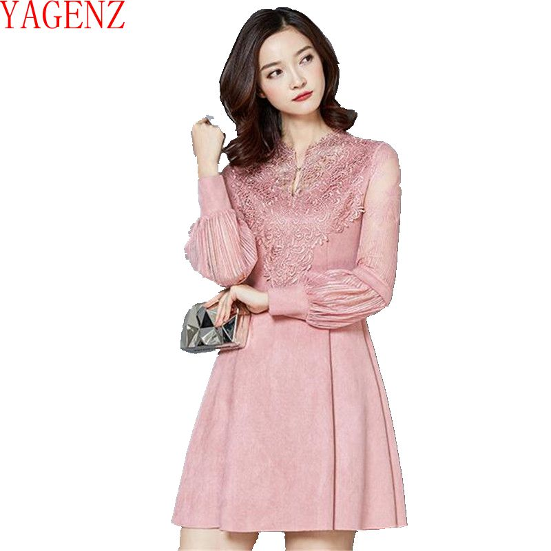 YAGENZ 2017 The spring Young women dress Bud silk Faux suede dress Long sleeve high-grade elegant Women clothing dress KG350(China)
