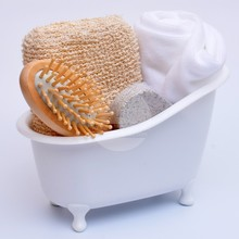 Towel bath set bath sponge wood comb pumice stone bathroom sets mini bathtub Bathroom Storage set white bath set S8DIS49