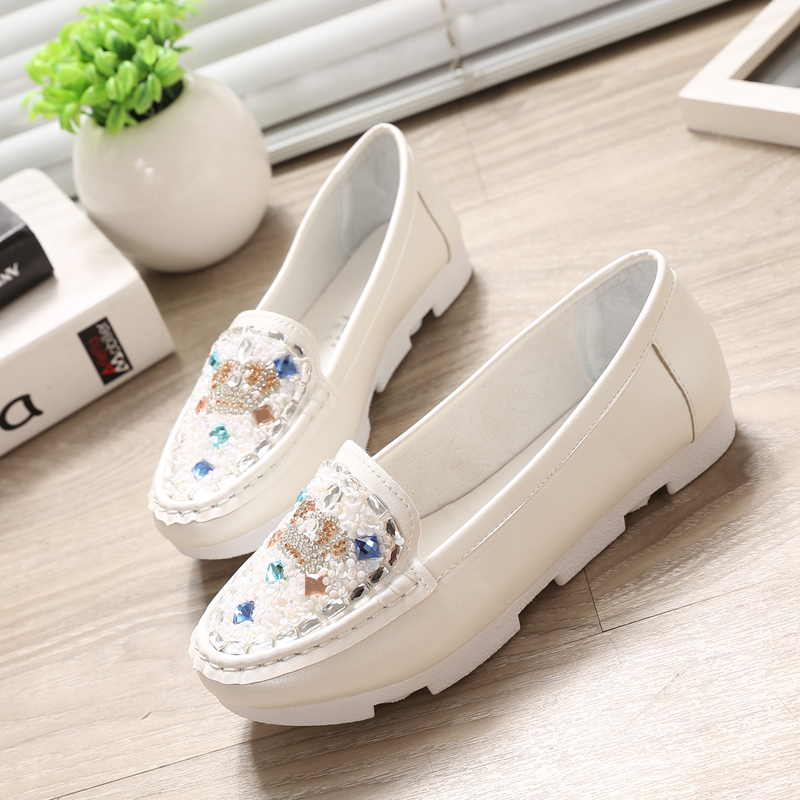 women fashion metal decoration flat shoes casual lady white party flats zapatos planos cool diamond pink shoes<br><br>Aliexpress