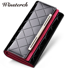 2017 Women Wallets Brand Design Patent Leather Clutch Purses Credit Card Holder Passport Cover Checkbook Long Wallet for Womens
