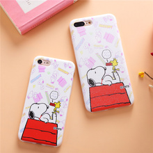 2016 Japan Fashion cute cartoon Cartoon For  iphone 6 case Girl iphone 7case Snoopie Dog Chef Hit Family Soft TPU Silicone Case