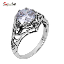 Szjinao Elegant 925 sterling silver rings for women manufacturers wholesale white zircon fine Jewelry Christmas wedding Hot Sale(China)