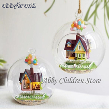 Novelty DIY House Glass Paradise Flying Cabin Model With Lamp Miniature Furniture Hand-made Wooden Model Gift For Children Adult