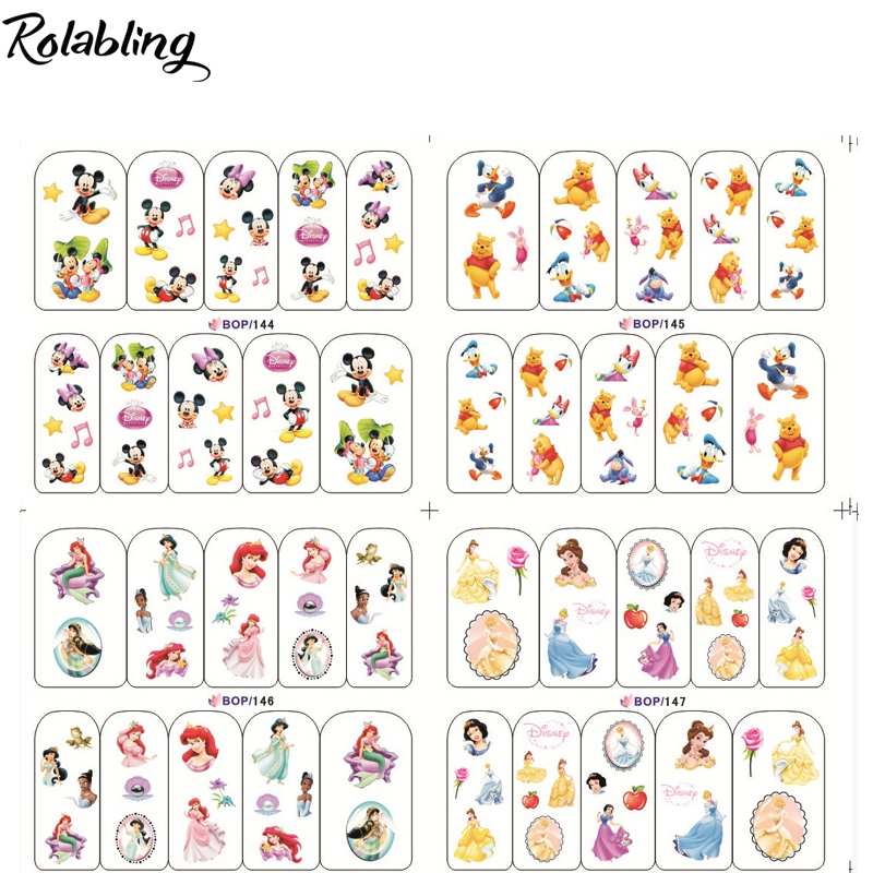 2017 New Arrival Mixed Famous Cartoon Character Series Nail Sticker Fingernail Decorations Manicure Accessories For Cute Girls(China (Mainland))