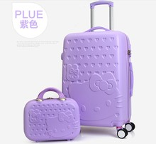 "TRAVEL TALE 20""24""28"" inch Hello Kitty Luggage,Spinner wheel ABS Suitcase Trolley,Women and children Travel Case(China)"