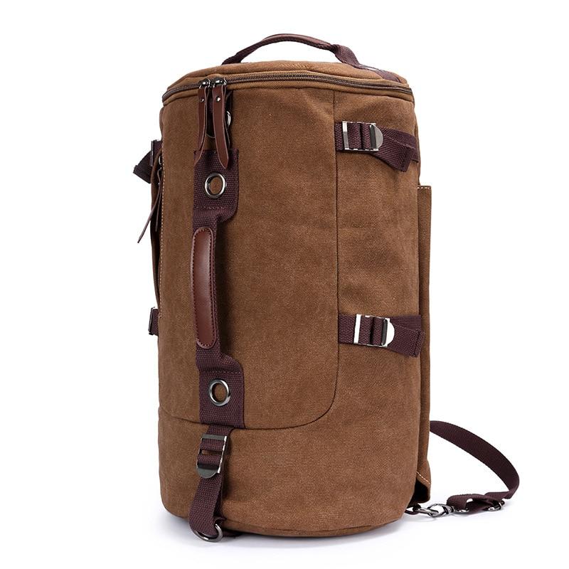 Vintage Large Capacity Travel Backpacks Cylindrical Canvas Crossbody Bag Women Travel Bag Men Luggage Backpack Weekend bags<br>