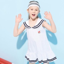 2017 Girls Summer Dress Kids Sailor Suit Style Navy Fashion Cool Clothes Cute Children Costume Age345678 9 10 12 13 14Years Old