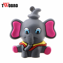 TWOBRO Lovely Elephant Animal pen drive 4GB 8GB 16GB usb Flash Drive Stick Pendrive 32GB 64GB Cute Kid/Boys/Girls Gift Wholesale(China)