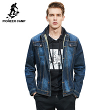 Pioneer Camp men denim jacket brand clothing 100%cotton casual mens jean jacket dark blue solid coat male Spring Spring 566351