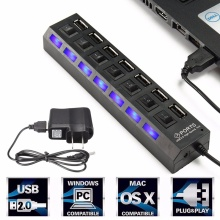 7 Ports LED USB Hub Splitter ON/OFF Switch Adapter Cable Computer Hub USB High Speed USB 2.0 Power Hub for Laptop PC Notebook