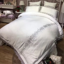 Luxury Beddings sheet Set King Queen Size Egypt Cotton/tencel Wedding Lace Romantic White Bed set Duvet Cover Bedline