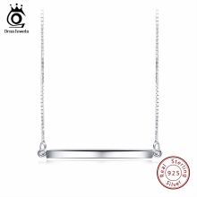 ORSA JEWELS 925 Sterling Silver Bar Pendant Necklaces for Men/Women Genuine Sliver Necklace Fashion Jewelry Lover's Gift SN09(China)