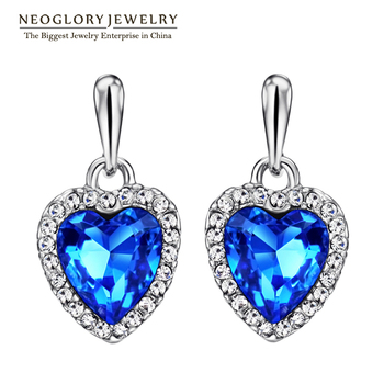 Neoglory Blue Crystal Rhinestone Heart Love Dangle Drop Earrings For Women Girls Friend 2017 New Jewelry Charm Gifts Fashion He1