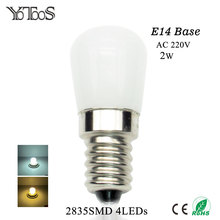 YOTOOS E14 LED Bulb 220V 2835SMD Led Light Replace Refrigerator Lamp Range Hood Sewing Machines Halogen Candle Lamp 360degree(China)