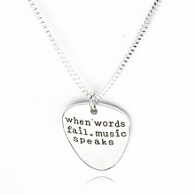 Women Fashion High Quality Letter Pendant Choker When Words Fail Music Speaks Silver Necklace Guitar Pick Collier Femme Jewelry