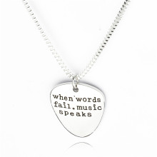 Women Fashion High Quality Letter Pendant Choker When Words Fail Music Speaks Silver Necklace Guitar Pick Collier Femme Jewelry(China)