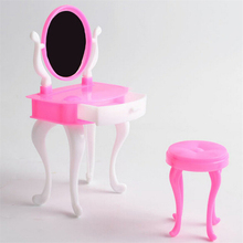 Doll Accessories Doll Furniture For Doll Furniture Dresser Dressing Table Make-Up Mirror Chair Set Bedroom Dollhouse Girls Toys