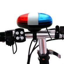 New Brand 6 LED 4 Tone Horn Bicycle Bells Night Cycling Light Electronic Siren For Kids Bikes Accessories Scooter(China)