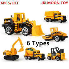 6Pcs/Lot 6 types Diecast mini alloy construction vehicle Engineering Car Dump-car Dump Truck Model Classic Toy Mini gift for boy