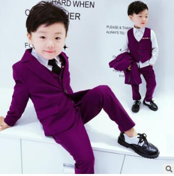 2017 new spring and autumn baby suit boy gentleman wedding suit suit jacket + vest + pants 3 sets of boys 2-9T free shipping <br>