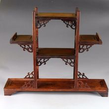 Exquisite Chinese classical hand-made hardwood rosewood antique wooden stand display shelf
