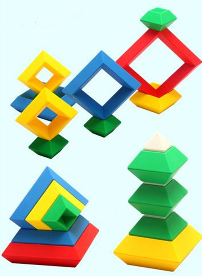 F16605 Changeable Tower Rhombus Building Blocks Child Creative Flashboard Children Educative DIY Toys for Baby Gift<br><br>Aliexpress