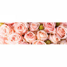 Full diamond painting 128x48cm Pink Rose pattern Decorative Painting rhinestone Handmade mosaic,flowers, Diy diamond embroidery(China)