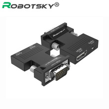 Robotsky HDMI to VGA Video Converter with Audio Adapter Support 1080P Signal HDMI to VGA Audio Transmission Adaptor Connector