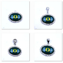 Pendant Charms Rhinestone NCAA Oregon Ducks Charms Football Sports Dangle Charms for Women Men Diy Jewelry Fashion