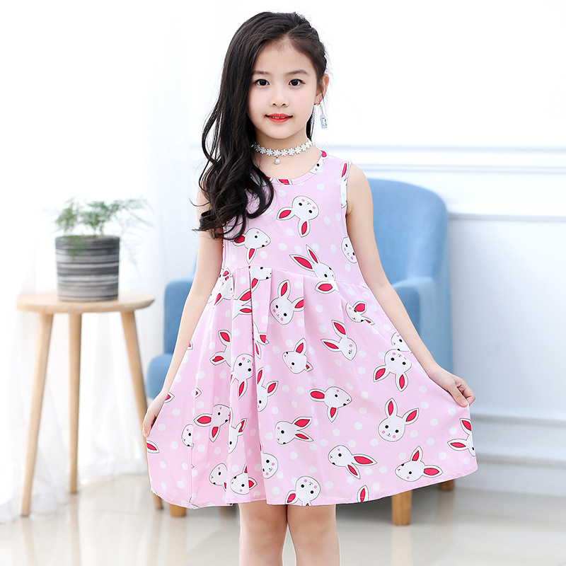 18 New Casual Dress Summer Style Sleeveless Cartoon printed pure cotton for Girls Dress 3-10 Years Children Clothing 9