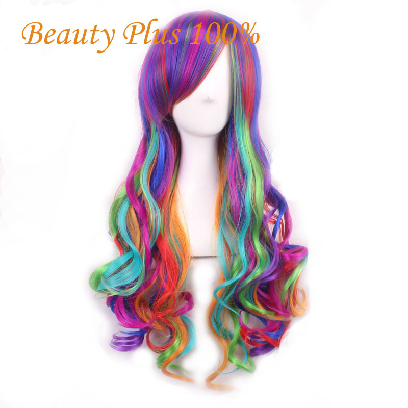 Harajuku Ombre Wig Pelucas Pelo Curly Natural Synthetic Wigs Heat Resistant Halloween Perruque Anime Cosplay Wigs Manic Panic<br><br>Aliexpress
