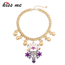 KISS ME Brand 2017 Hyperbole Purple Rhinestone Heart Skull Necklace Gold Color Chain Chunky Necklace Statement Jewelry(China)