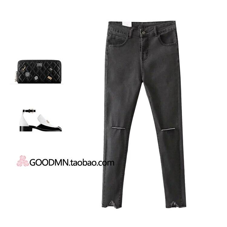 2017 Hitz Korea slim slim hole denim jeans stretch female nine pencil pants.Одежда и ак�е��уары<br><br><br>Aliexpress