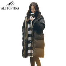 ALI TOPTINA  Parka Women Coat Long 2017 Winter Coat Women Jacket Thick Warm Snow Wear Thickening Cotton Loose Coat Woman MF38