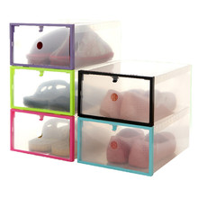 2017 Hot Shoe Rack Box Foldable Stackable Clear Small Plastic Drawer Case Organizer Box Holder Shoe Storage 5 color Transparent(China)