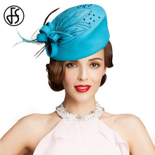 FS 100% Australia Wool Pillbox Hat For Elegant Women Sky Blue Derby Ladies Formal Winter Flowers Felt Wedding Church Hats(China)